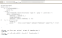 Screenshot of a websites sourcecode with autodownload via iframe